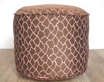 "Brown pouf ottoman 18"" round cushion, animal print floor pouf brown and soft pink"