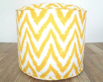 "Yellow chevron pouf, round pouf ottoman 18"", yellow and white geometric floor cushion dorm room decor, nursery glider gift for her"