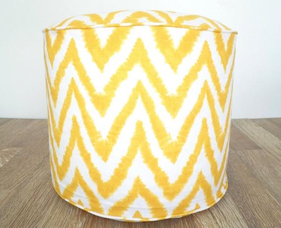 pouf de chevron jaune rond pouf ottoman 18 jaune et. Black Bedroom Furniture Sets. Home Design Ideas
