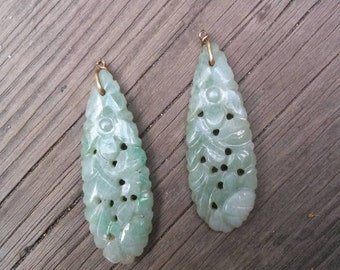 Antique Victorian Chinese jade earrings