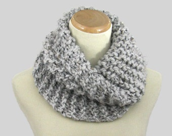 Neck Warmer, Bulky Cowl, Hand Knit Scarf, Knit Cowl, Winter Scarf, Gray Marble Cowl, Gift Idea, Outlander Inspired, Women Scarf,