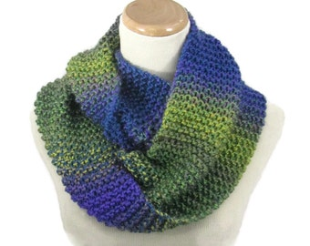 Knit Infinity Scarf, Knit Cowl, Hand Knit Scarf, Multicolor Scarf, Gift Idea For Her, Womens Accessory, Fashion Accessory, Green Blue Scarf