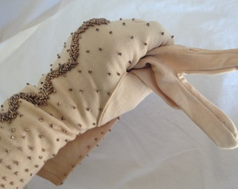 NEW EVENING Gloves BEADED one size tan