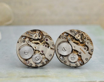 THE TIME KEEPER vintage jeweled watch movement cuff links steampunk ooak