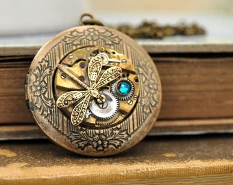 steampunk locket, locket necklace, TIME TRAVELER, antique brass photo locket necklace with tiny dragonfly