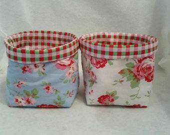 2 x Cath Kidston Rosali Ikea blue rose/white rose/checked fabric Bits & bobs Storage basket/box/tub