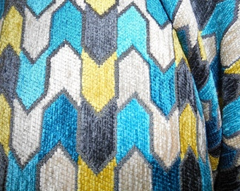 GEOMETRIC grey yellow teal ivory cotton blend CHENILLE upholstery fabric home decor,08-29-20-1013