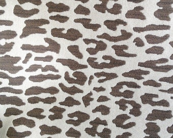 Brown tan cream CHEETAH woven ANIMAL upholstery fabric home decor