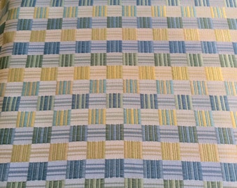 Yellow blue green woven CHECK SATIN upholstery fabric home decor