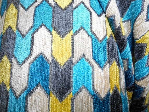 GEOMETRIC Grey Yellow Teal Ivory Cotton Blend CHENILLE