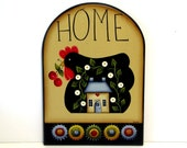 Prim Chicken Penny Rug Sign, Handpainted Wood, Home Decor, Wall Art