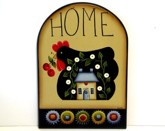 Primitive Chicken Penny Rug Arched Sign, Handpainted Wood, Hand Painted Prim Home Decor, Wall Art, Tole Decorative Painting, B4