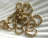 14k solid yellow gold 22 inch necklace rope chain - vintage jewelry