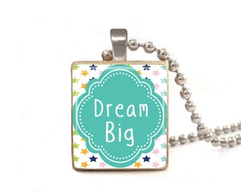 Dream Big, Dream Necklace, Dream Pendant, Star Necklace, Inspirational Jewelry, Quote Pendant, Game Piece Necklace, Wood Jewelry, Square