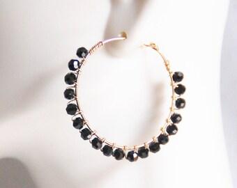 Hoop Earrings - Black Pyrite Hoop  Earrings- Pyrite Hoop Earrings- Black Hoop - Black Pyrite And Gold  Filled Hoop Earrings -