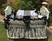 Boutique Black and White Stripe Gold Dot/White and Black minky/Black and Gold Satin Baby Crib Bedding and Accessories