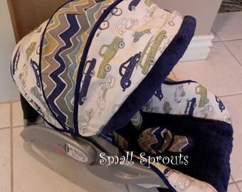 Rory Retro Cars/Chevron/Navy Minky Dot Fabric Infant car seat cover 5 piece set