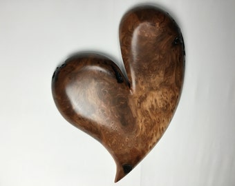 Redwood Burl wooden wall Heart personalized Anniversary Gift wood heart present by Gary Burns the treewiz handmade