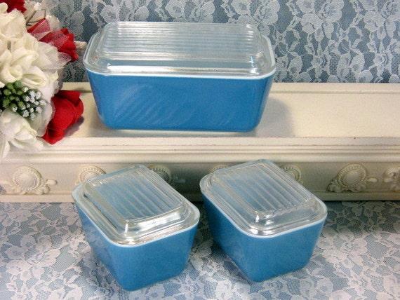 Vintage Pyrex Glass Horizon Blue Fridgies Refrigerator Dish