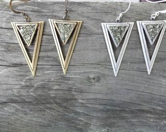 Geometric Earrings, Triangle Earrings, Geometric Jewelry, Pyrite Earrings, Nickel Free Earrings, Boho Earrings, Dynamo Holiday Jewelry