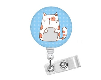 Fat Cat ID Badge Holder - ID Badge Reel - Teacher Badge Reel - Nursing Badge - Teacher Badge Reel - Medical Badge - Vet Badge