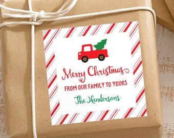 Personalized Christmas Gift Stickers - Vintage Truck with Candy Cane Stripes - Set of 12