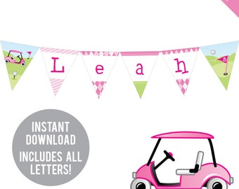 INSTANT DOWNLOAD Pink Golf Party - DIY printable pennant banner - Includes all letters, plus ages 1-19