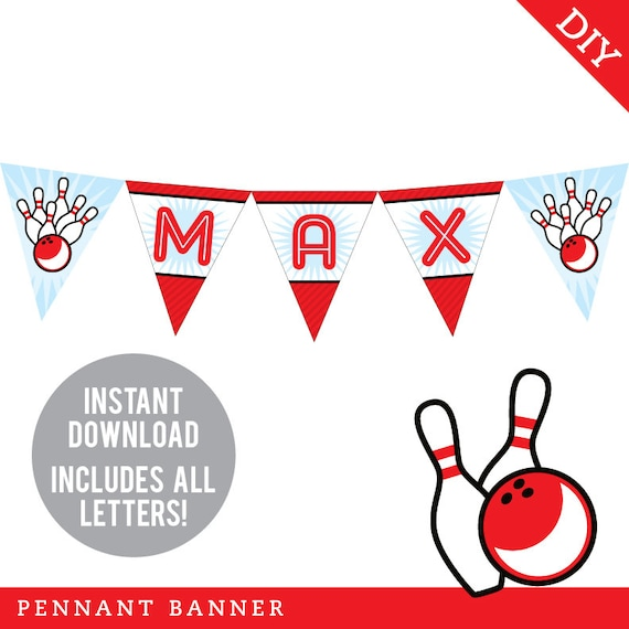 INSTANT DOWNLOAD Bowling Party - DIY printable pennant banner - Includes all letters, plus ages 1-18