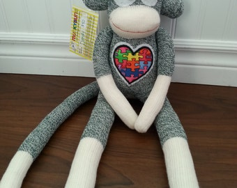 Autism Puzzle Heart, Rockford Red Heel Sock Monkey Doll - Your Choice of colour