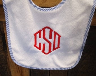 Personalized monogram boy seersucker trim baby bib/baby shower gift