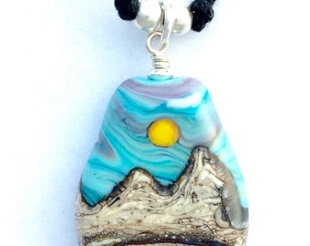 Handmade Lampwork Desert Sun Mountain Landscape Focal Bead Necklace with .925 Sterling Silver Findings