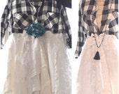 Flannel jacket,  Bohemian lace duster, Romantic black winter white coat dress, Stevie Nicks Boho dresses, Shabby chic True rebel clothing