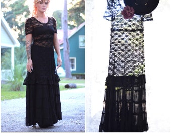 Stevie Nicks gypsy spell style fall dress, Bohemian lace n Crochet tunic dress, Boho dress Romantic Autumn lace dresses, True rebel clothing