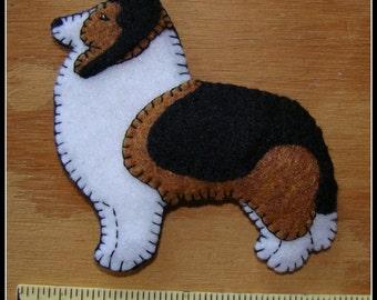 Shetland Sheepdog-Sheltie-handmade Christmas ornament-slash-Refrigerator magnet COMBO-unique original design. Fun gift for any dog lover.