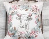 Farmhouse Decor Holiday Cow Pillow Cover