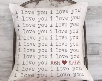 Wedding Gift Pillow Cover Personalized Names I Love You Cotton Anniversary Gift