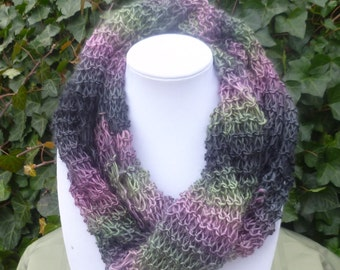 Hand Knit Infinitty scarf - Hand Knit eternity scarf- Hand Knit cowl scarf - Light weight scarf - knit  scarf- womens scarf- scarves