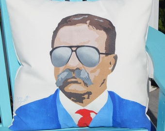"""Outdoor pillow THEODORE ROOSEVELT 20"""" (50cm) U.S. President big stick Square Deal Mt. Rushmore trust buster Rough Riders Crabby Chris"""