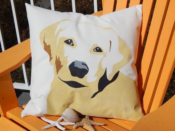 "Pet rescue benefit GOLDEN LABRADOR RETRIEVER 20"" pillow painted lab dog best friend family pet fundraiser shelter Crabby Chris Original"