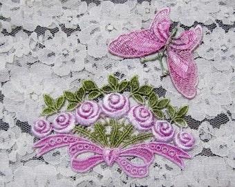 Pink Butterfly Flower Bouquet  Hand Dyed Venise Lace  Wedding Crazy Quilt Scrapbook Embellishment