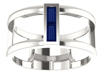 Blue Sapphire Double Baguette Band Ring, Negative Space Ring, September Birthstone Ring