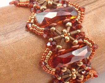Beading Tutorial for Trestles and Pylons Bracelet, jewelry pattern, beadweaving tutorials, instant download, PDF