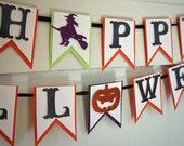 Happy Halloween Banner - Halloween Decor - Halloween Photo Prop - Glitter Halloween Banner - Halloween Garland