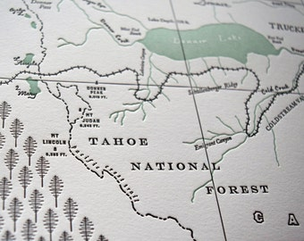 Truckee, California Letterpress Map Print