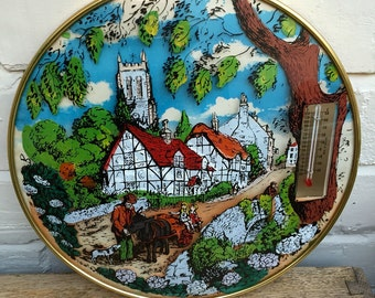 Kitch Domed Wallhanging Diorama With Thermometer c1960s