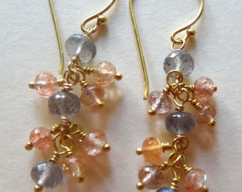 gemstone earrings, long dangle earrings, multi stone earrings, gray and pink gray and peach labradorite earrings sunstone earrings cluster