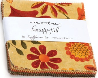 "Beauty Fall Charm Pack by Sandy Gervais for Moda Fabrics 17880PP 42 5"" Fabric Squares"