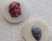 Vintage Plaques Alabaster Portrait Heads