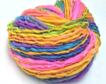 Handspun rainbow yarn, self striping  - 80 yards, 2.3 ounces, 65 grams