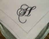 "4 "" No Iron""  White Monogrammed Hemstitched napkins"